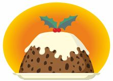 Christmas Pudding on Plate with Cream and Holly. Christmas Pudding with Cream Brandy Custard and Holly Decoration Stock Image