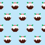 Christmas pudding seamless pattern, Christmas jumper or sweater style, Xmas decor Stock Images