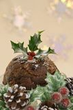 Christmas Pudding in Seasonal Setting royalty free stock photography