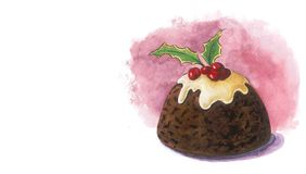 Christmas pudding. A watercolor illustration of a traditional Christmas pudding with holy leaves and berries (with place for text Royalty Free Stock Photos