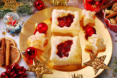 Christmas puff pastry cookies with cranberry Stock Photo