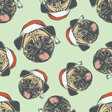 Christmas Pug dog vector seamless pattern illustration Royalty Free Stock Photography