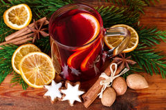 Christmas Punch Mulled Wine Rustic Decoration Top View Royalty Free Stock Photography