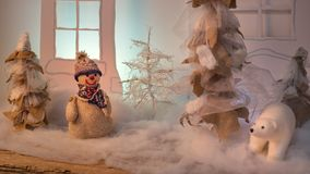 Christmas Puppet composition in the forest. royalty free stock photos