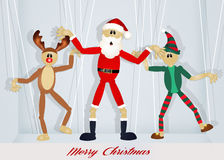 Christmas puppets. Funny illustration of Christmas postcard Stock Photo