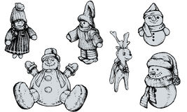 Christmas Puppets - Hand Drawn. Set of 6 christmas puppets highly detailed. To remove/change the fill color, just open the group of the puppet (in Illustrator) Royalty Free Stock Photos