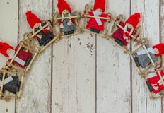 Christmas puppets. Photography Christmas background with dwarf puppets royalty free stock photos