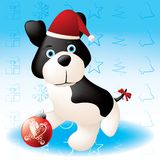 Christmas puppy. Layered and grouped illustration for easy editing Royalty Free Stock Photo