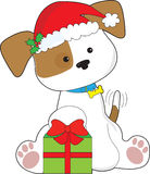 Christmas Puppy. A cute puppy wearing a Santa hat, sits by a wrapped Christmas gift with tail wagging in anticipation Stock Photos