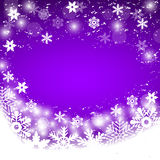 Christmas purple background with snowflakes, vector Stock Photography