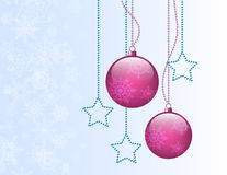 Christmas purple balls. On gradient background with stars Royalty Free Stock Photo