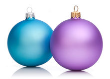 Christmas Purple and Blue Baubles Isolated Royalty Free Stock Image