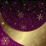 Christmas Purple-gold Frame Royalty Free Stock Photography