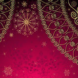 Christmas purple-gold frame Stock Image