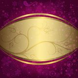 Christmas purple and golden frame Stock Image
