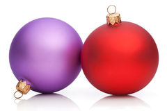 Christmas Purple and Red Baubles  Royalty Free Stock Images