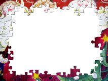 Christmas puzzle frame Royalty Free Stock Photo