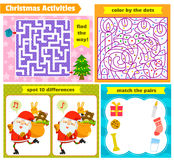 Christmas puzzle games. Set of puzzle games for Christmas Stock Photography