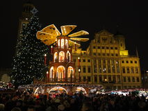 Christmas market night scene in city Augsburg Stock Photos