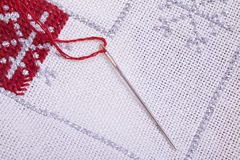 Christmas quilt and embroidery needle Royalty Free Stock Image