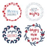 Christmas quotes in wreathes and round frames. Collection of different New Year, Christmas quotes in round frames, wreathes, with holly, stars, fir tree Royalty Free Stock Images