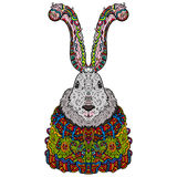 Christmas rabbit in bright colorful costumes. Royalty Free Stock Photo