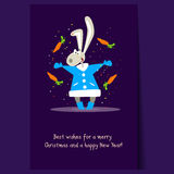 Christmas Rabbit and Falling Carrots. Flat Vector Royalty Free Stock Images
