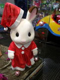 Christmas Rabbit in Toy Shop Royalty Free Stock Photography