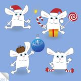 Christmas Rabbits set Stock Images