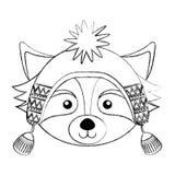 Christmas raccoon face cartoon Royalty Free Stock Image