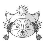 Christmas raccoon face cartoon Royalty Free Stock Photos