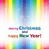Christmas rainbow stripe and snow Stock Photography