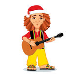 Christmas rasta playing guitar. Vector Christmas illustration of rastaman playing acoustic guitar. Cute cartoon rastafarian guy with dreadlocks wearing red shirt Stock Images