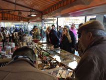 CHRISTMAS RASTRO 2015, BARCELONA, Customers on street flea market Royalty Free Stock Photos