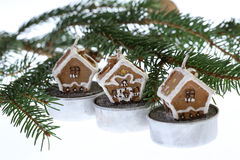 Christmas and realestate theme on white. Christmas theme isolated on white with small housee stock photo