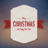 Christmas realistic big paper Banner with Ribbon Stock Photos