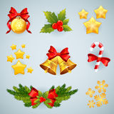 Christmas realistic festive set of items. Christmas realistic festive set of traditional items Stock Image