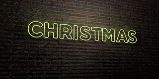CHRISTMAS -Realistic Neon Sign on Brick Wall background - 3D rendered royalty free stock image Royalty Free Stock Images