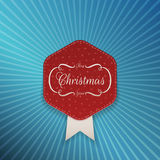Christmas realistic red Emblem Template Royalty Free Stock Photos