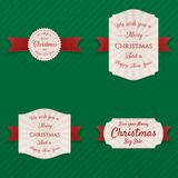 Christmas realistic vector Labels Collection. On green striped Background Royalty Free Stock Images