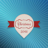 Christmas realistic white Sticker with red Ribbon Royalty Free Stock Photos
