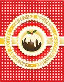 Christmas Recipe book. Gingham Christmas recipe book cover with traditional fig pudding. Scrapbook style Royalty Free Stock Photos