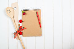 Christmas recipe book on woodem background. Christmas recipe book on the woodem background Stock Images