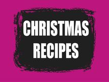 Christmas recipes banner. Christmas recipes pink and black banner Stock Photo