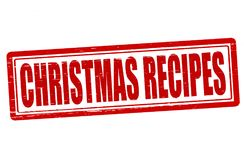 Christmas recipes. Stamp with text Christmas recipes inside, illustration Royalty Free Stock Photo