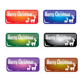 Christmas rectangle button Royalty Free Stock Images