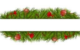 Christmas rectangular white frame Stock Photos