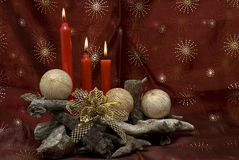 Christmas in red. Christmas card with some red candles and red and golden balls Stock Photos