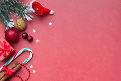 Christmas red abstract background and supplies Stock Photos