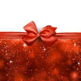 Christmas red abstract background. Red winter abstract background. Christmas background with ribbon and bow. Vector Stock Image